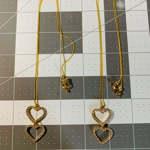 Jewelry - 😍18k gold plated double-heart necklace